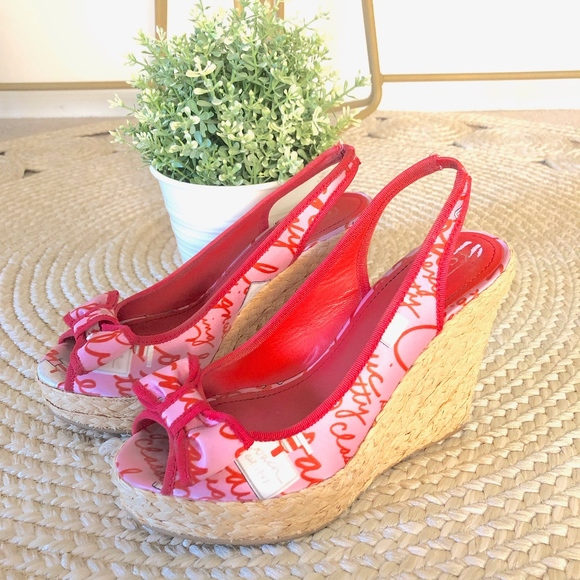 a06e489b401f COACH Shoes - COACH GRACE PERFUME SCRIPT RED PINK BOW ESPADRILLE